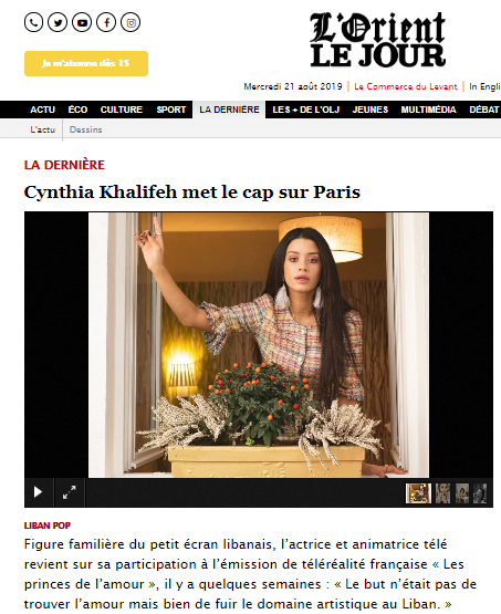 cynthia for l'orient le jour style Batty